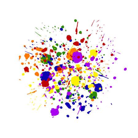 Abstract dot splash. Rainbow messy hand drawn drip points isolated on white background. Brush stroke, ink blots stain, dirty paint splash, drop, spray effect. Vector grunge splattered illustration