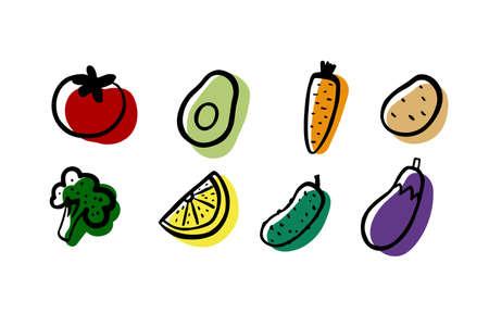 Vegetables set. Broccoli, avocado, carrot, potato, tomato, cucumber, eggplant, lemon on white background. Hand drawn fresh vegetables. Vector healthy food, eco nutrition, gardening, vegetarian symbol