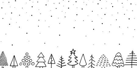 Vector cozy Christmas doodle banner. Outline cute Scandinavian Christmas fir tree, falling snow on white background. Fabulous winter holiday night. New Year festive mood vector copy space illustration