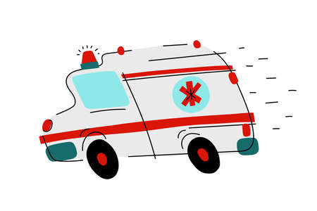 Cartoon white ambulance with red signs. Medical rescue vehicle isolated on white background. Paramedic transport is moving fast with lights, siren. Medicine, health, care symbol. Vector illustration