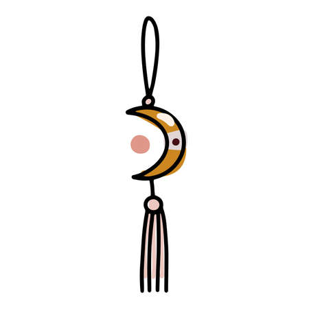 Doodle boho Christmas ball. Moon Toy with tassels, fringe isolated on white background. Pastel colors festive decoration. Vector magic New Year illustration.