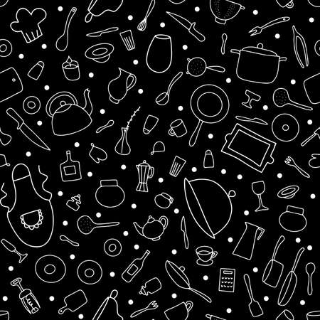 Seamless Doodle tableware vector pattern. Outline dishes on black background. Cooking pots, pans, food plates, cutlery, tea kettle, coffee cup, chefs clothes. Hand-drawn chalkboard Kitchenware set