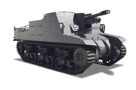 tanque de guerra: Un tanque de guerra aislado en fondo blanco