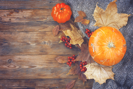 autumn theme background, pumpkins, dry leaves, rowan berries on old wooden table, top view