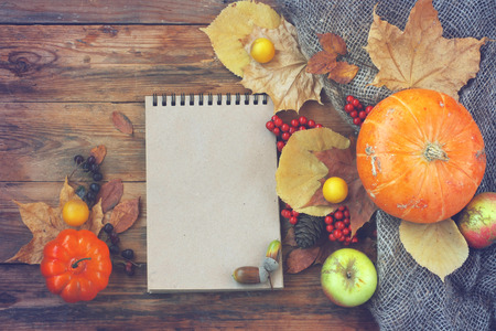 autumn theme background, pumpkins, dry leaves, berries, empty notepad on old wooden table, top view