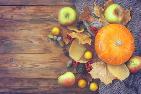 autumn theme background, pumpkins, apples, dry leaves, rowan berries on an old wooden table, top view Banco de Imagens