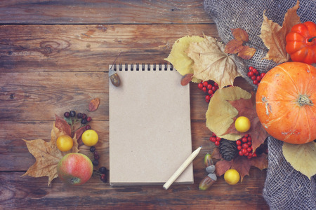 autumn theme background, pumpkins, dry leaves, berries, notepad and pencil on old wooden table