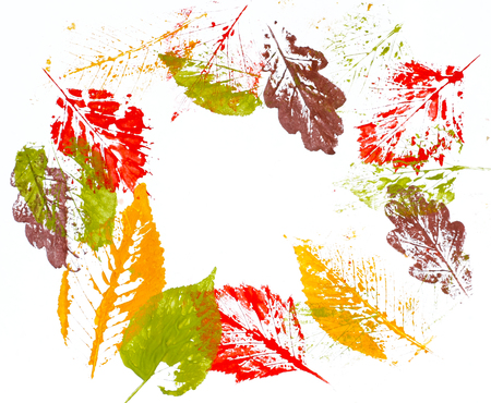 print colorful autumn leaves on white paper, watercolor illustration Banco de Imagens
