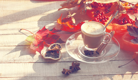 morning coffee with milky foam, cinnamon, anise, autumn leaves on white wooden table, sunny day