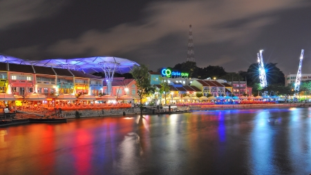 quayside: Clark Quay, historical riverside quay in Singapore Editorial