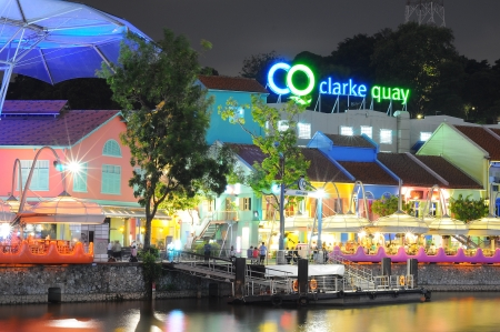 Clark Quay, historical riverside quay in Singapore Editorial