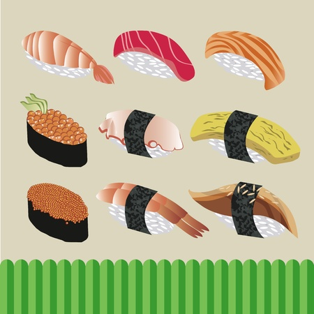 soy sauce: sushi japanese food vector Illustration