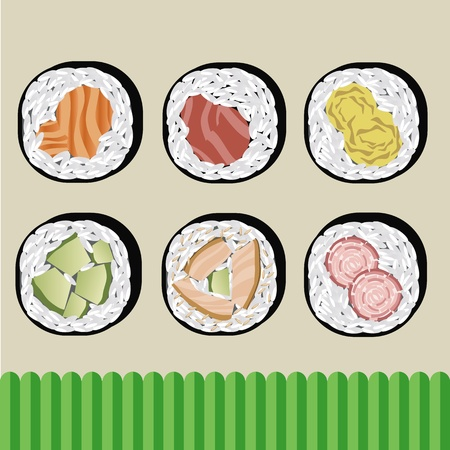 sushi japanese food vector Stock Vector - 10868656