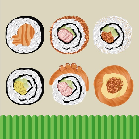 egg roll: sushi japanese food vector Illustration