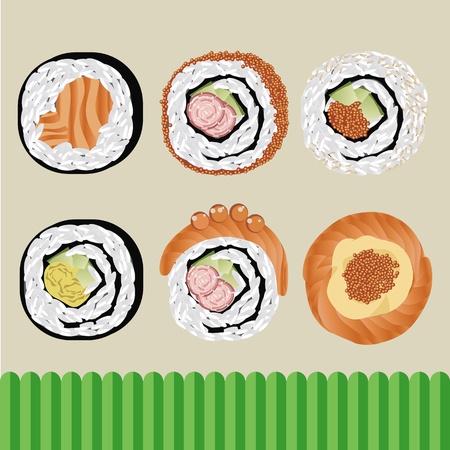 sushi roll: vettoriale sushi cibo giapponese