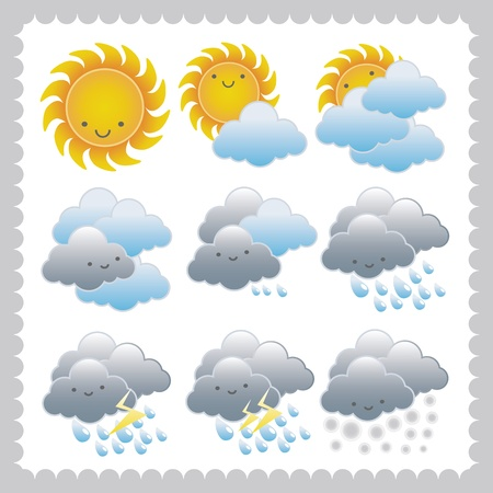 Weather icon sign set isolated on white vector  Stock Vector - 10868659