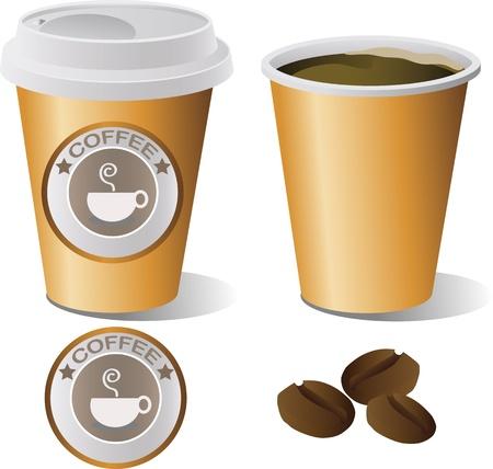 plastic cup: hot coffee cup set, illustrator Illustration
