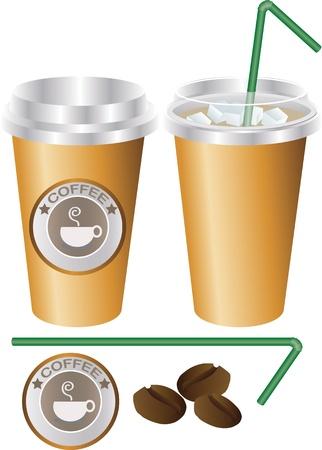 ice coffee cup set, illustrator Vector