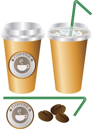 plastic straw: ice coffee cup set, illustrator