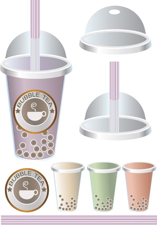 plastic straw: pearl milk bubble tea, boba milk tea, illustrator