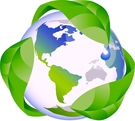 recycle sign: Eco globe recycle nature concept