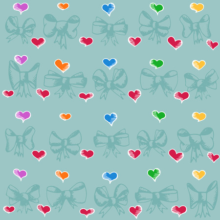 Vector freehand drawing pattern with bow-knot and hearts Vector