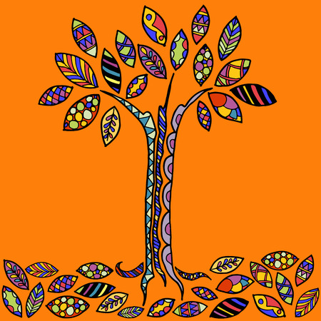 Vector tree with colored leaves Stock Illustratie