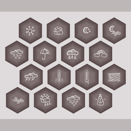 polygons with vector Hand-drawing weather icons Illustration