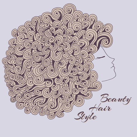 Profile view of the girl with beautiful curly hair. Beauty Salon. Vector illustration