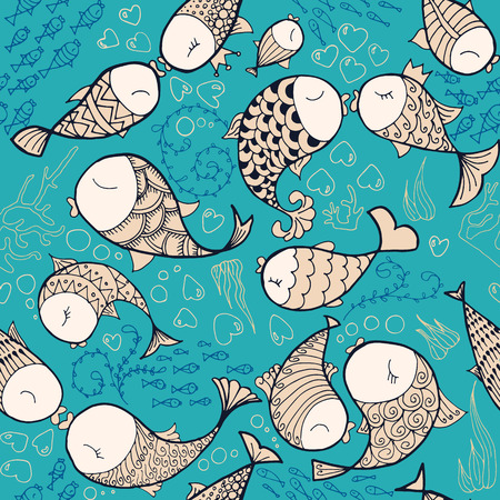 small flock: Pattern witg sea life objects. Seamless pattern with fishes, corals, bubbles and heart. Sea life vector illustration. Cartoon style. Vector illustration.