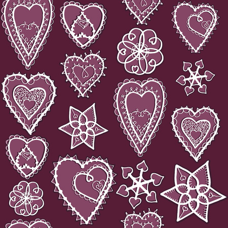 bordo: Snowflakes and hearts of snowflakes pattern. Valentines Day. Bordo style. Winter.