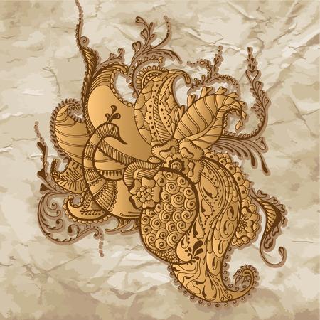 Pauw op de vintage achtergrond. Traditionele Indische sier ontwerp. Bloemen stijl voor de wenskaart of uitnodiging. Vector illustratie