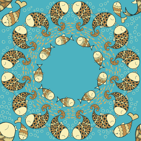 maelstrom: Pattern with sea life objects. Seamless pattern with fishes and bubbles. Maelstrom of fish. Cartoon style. Vector illustration.