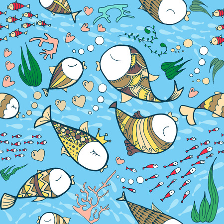 Pattern with sea life objects. Seamless pattern with fishes, corals, bubbles and heart. Sea life vector illustration. Cartoon style. Vector illustration. Vector