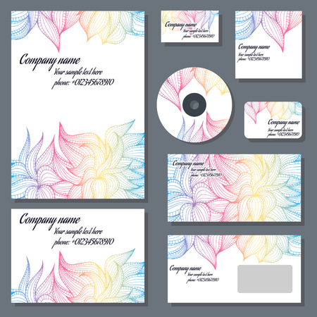 Set of templates for cd disks, envelopes, notebooks, credit card, business card and invitation card with floral ornament. Corporate style vector.