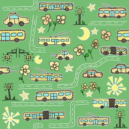 Seamless pattern with transport, roads, flowers and streets. Can be used as a background of website, textiles or other Vector