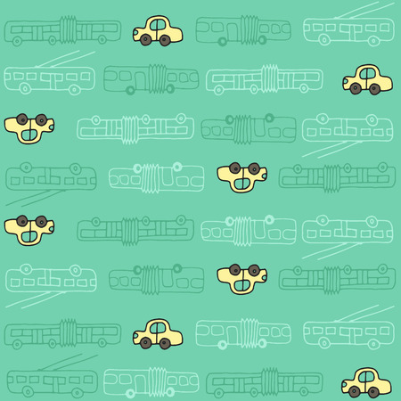 Seamless pattern with automobiles, trolleybuses and buses. Can be used as a background of website, textiles or other Vector