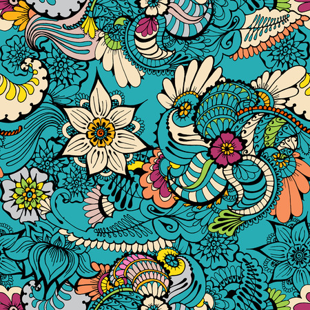 Floral colorful background with indian ornament. Seamless pattern for your design wallpapers, pattern fills, web page backgrounds, surface textures.