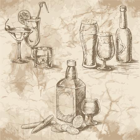 botella de whisky: Dibujo a mano alzada en el papel viejo. Copas copas con c�cteles y cerveza, una botella de whisky, limones y puros. Vintage estilo de dise�o de la comida.