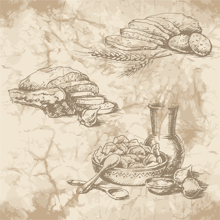 garlic bread: Freehand drawing on the old paper. Bread with bacon, garlic, sour cream jug and a plate of dumplings. Vintage style of food design.