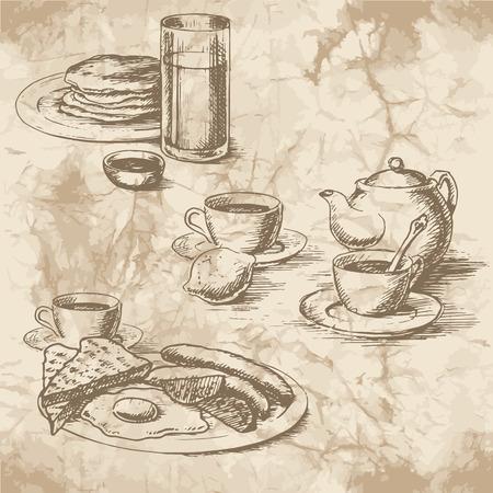 colazione: Disegno a mano libera della colazione sulla vecchia carta. Salsicce, uova, bue, toast, frittelle, limone, t�, succo di frutta e caff� con bollitore. Stile vintage di food design.