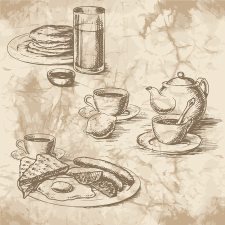 Freehand drawing of the breakfast on the old paper. Sausages, eggs, sunny side up, toast, crumpets, lemon, tea, juice and coffee with kettle. Vintage style of food design. Illustration