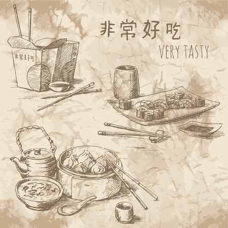 Freehand drawing on the old paper. Sketches of Chinese food: tea ceremony, take away food and sushi set. Vintage style of food design.