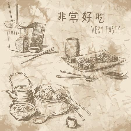 chinesisch essen: Freihandzeichnen auf dem alten Papier. Sketches of Chinese food: Tee-Zeremonie, Fertiggerichte und Sushi-Set. Vintage-Stil von Nahrungsmittelentwurf.