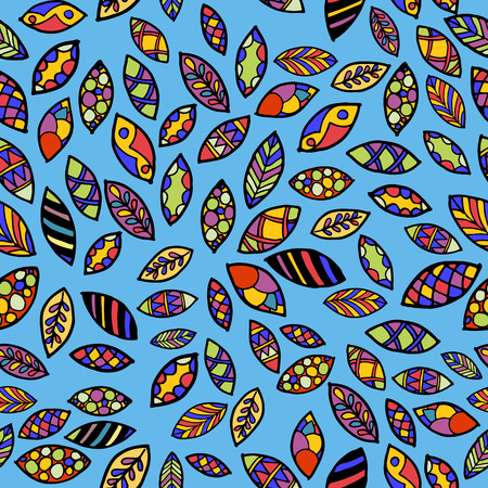 Seamless pattern with colored leaves. Can be used for background of textile, website , invitation card or something else. Vector