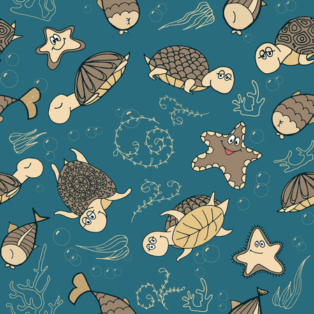 Seamless pattern with sea life object, turtles, fishes, corals, bubbles and seaweed. Cartoon style. Vector illustration. Vector
