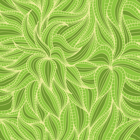Abstract hand-drawn seamless pattern with dense vegetation. Leaves. Can be used for desktop wallpaper or frame for a poster,for pattern fills, surface textures, web page backgrounds, textile and more.