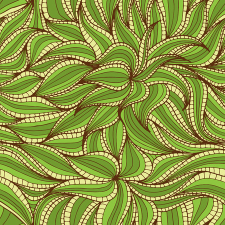 vegetation: Abstract hand-drawn seamless pattern with dense vegetation. Leaves. Can be used for desktop wallpaper or frame for a poster,for pattern fills, surface textures, web page backgrounds, textile and more.