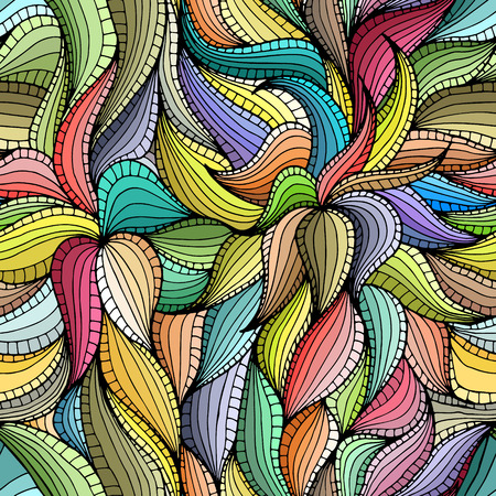Abstract hand-drawn seamless pattern with colorful vegetation. Leaves. Can be used for desktop wallpaper or frame for a poster,for pattern fills, surface textures, web page backgrounds, textile and more. Illustration