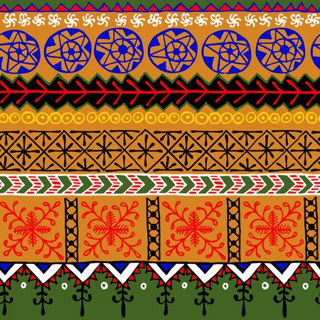 arte africano: Modelo geométrico abstracto africano sin fisuras. Vector de fondo para sus fondos, texturas, invitaciones, tarjetas de felicitación o de otros.